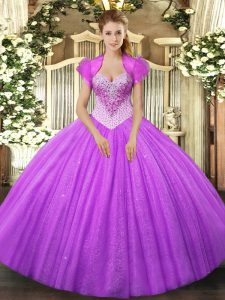 On Sale Lilac Lace Up Sweet 16 Dresses Beading Sleeveless Floor Length
