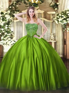Olive Green Sleeveless Floor Length Beading Lace Up Quinceanera Gowns