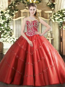 Red Tulle Lace Up Quinceanera Gown Sleeveless Floor Length Beading and Appliques