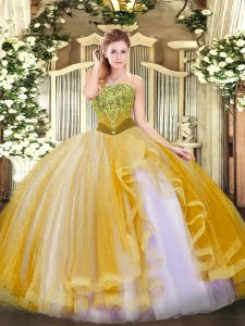 Graceful Gold Tulle Lace Up Strapless Sleeveless Floor Length Sweet 16 Dresses Beading and Ruffles