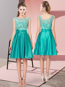 Low Price Turquoise A-line Lace and Hand Made Flower Prom Dresses Zipper Satin Sleeveless Mini Length
