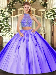 Sleeveless Tulle Floor Length Criss Cross Sweet 16 Quinceanera Dress in Lavender with Beading
