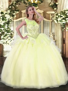 Floor Length Light Yellow Sweet 16 Dresses Organza Sleeveless Beading