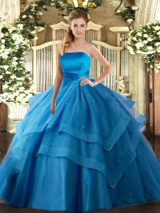 Baby Blue Lace Up Strapless Ruffled Layers Quinceanera Gowns Tulle Sleeveless