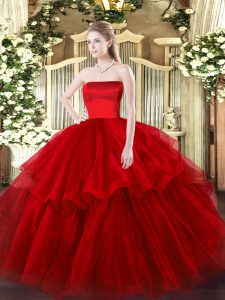 Wine Red Strapless Zipper Ruffled Layers Vestidos de Quinceanera Brush Train Sleeveless