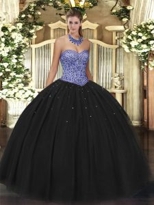 Sweetheart Sleeveless Tulle Quince Ball Gowns Beading Lace Up