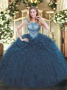 Navy Blue Ball Gowns Scoop Sleeveless Organza Floor Length Lace Up Beading and Ruffles 15th Birthday Dress