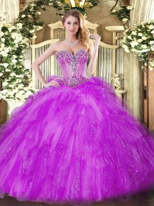 Free and Easy Fuchsia Tulle Lace Up 15th Birthday Dress Sleeveless Floor Length Beading and Ruffles