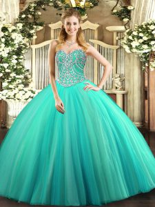 Floor Length Lace Up Vestidos de Quinceanera Aqua Blue for Military Ball and Sweet 16 and Quinceanera with Beading