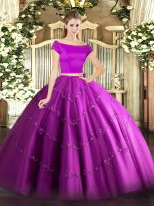 Deluxe Floor Length Fuchsia Sweet 16 Dress Off The Shoulder Short Sleeves Zipper