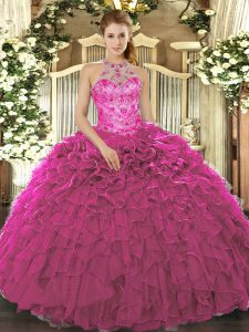Ball Gowns 15th Birthday Dress Fuchsia Halter Top Organza Sleeveless Floor Length Lace Up