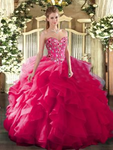 Stylish Sweetheart Sleeveless Lace Up Quince Ball Gowns Hot Pink Organza and Printed