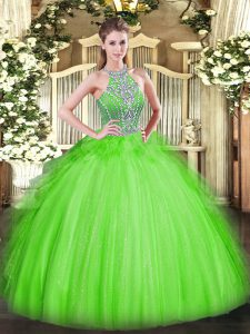Adorable Sleeveless Tulle Floor Length Lace Up 15th Birthday Dress in with Beading and Ruffles
