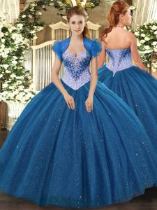 Charming Navy Blue Sweetheart Neckline Beading and Sequins Sweet 16 Quinceanera Dress Sleeveless Lace Up