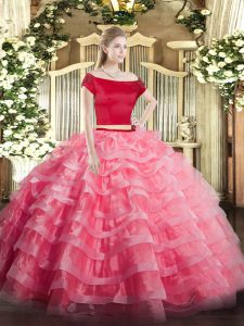 Short Sleeves Tulle Floor Length Zipper Sweet 16 Dresses in Watermelon Red with Appliques and Ruffled Layers