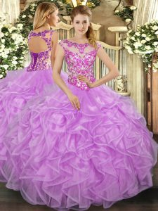 Elegant Ball Gowns Sweet 16 Dresses Lilac Scoop Organza Cap Sleeves Floor Length Lace Up