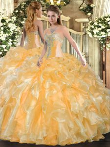 Gold Lace Up Sweetheart Beading and Ruffles Quinceanera Dress Organza Sleeveless