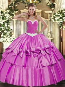 Deluxe Floor Length Lilac Quinceanera Dresses Sweetheart Sleeveless Lace Up