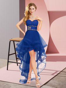 Sleeveless Tulle Floor Length Lace Up Prom Evening Gown in Royal Blue with Beading