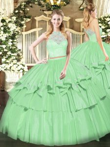Floor Length Apple Green Quinceanera Gowns Organza Sleeveless Lace and Ruffled Layers