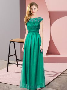 Turquoise Empire Scoop Sleeveless Tulle Floor Length Zipper Lace
