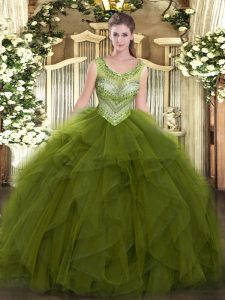 Floor Length Ball Gowns Sleeveless Olive Green 15 Quinceanera Dress Lace Up