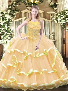 Beauteous Organza Sleeveless Floor Length 15 Quinceanera Dress and Beading and Ruffled Layers