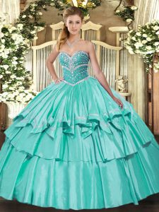Apple Green Sleeveless Beading and Ruffled Layers Floor Length Quinceanera Dress