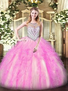 Tulle Scoop Sleeveless Zipper Beading and Ruffles Sweet 16 Quinceanera Dress in Lilac