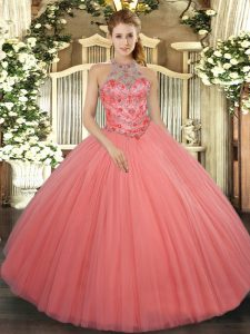 Beading and Embroidery 15 Quinceanera Dress Watermelon Red Lace Up Sleeveless Floor Length
