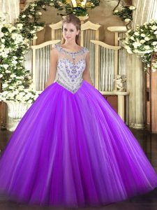 Eggplant Purple Sleeveless Floor Length Beading Zipper Quinceanera Dresses
