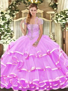 Fancy Lilac Ball Gowns Appliques and Ruffled Layers Quinceanera Gowns Lace Up Organza Sleeveless Floor Length