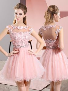 Suitable Baby Pink Side Zipper Scoop Beading and Appliques Prom Evening Gown Tulle Sleeveless
