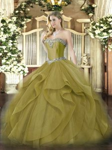 Exceptional Olive Green Lace Up Sweetheart Beading and Ruffles 15 Quinceanera Dress Tulle Sleeveless