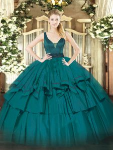 Floor Length Teal Sweet 16 Dresses Organza Sleeveless Beading and Ruffled Layers