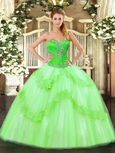 Tulle Lace Up Quinceanera Gown Sleeveless Floor Length Beading and Ruffles