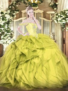 Latest Olive Green Organza Lace Up 15th Birthday Dress Sleeveless Floor Length Beading and Ruffles