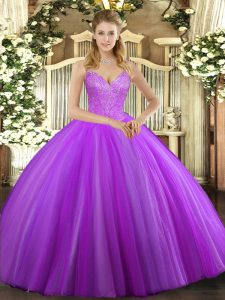 Fashion V-neck Sleeveless Lace Up Quince Ball Gowns Eggplant Purple Tulle