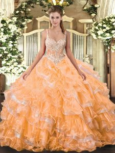 Floor Length Orange Quince Ball Gowns Organza Sleeveless Beading and Ruffled Layers