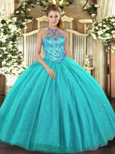Flare Aqua Blue Halter Top Lace Up Beading and Embroidery Quince Ball Gowns Sleeveless