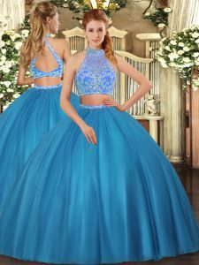 Teal Sleeveless Tulle Criss Cross Sweet 16 Quinceanera Dress for Military Ball and Sweet 16 and Quinceanera