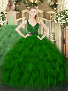 Fancy Sleeveless Floor Length Beading and Ruffles Zipper Quinceanera Gown with Dark Green