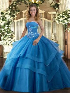 Edgy Tulle Strapless Sleeveless Lace Up Beading and Ruffled Layers Sweet 16 Dress in Baby Blue