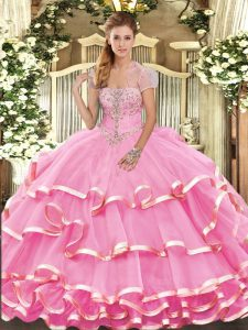 Gorgeous Rose Pink Strapless Neckline Appliques and Ruffled Layers Quinceanera Gowns Sleeveless Lace Up