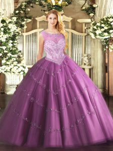 Customized Lilac Sleeveless Tulle Zipper Ball Gown Prom Dress for Sweet 16 and Quinceanera