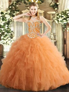 Fashion Tulle Sweetheart Sleeveless Lace Up Beading and Ruffles Ball Gown Prom Dress in Orange