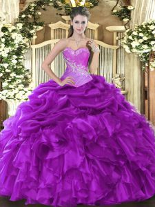 Eggplant Purple Sleeveless Organza Lace Up Sweet 16 Quinceanera Dress for Military Ball and Sweet 16 and Quinceanera