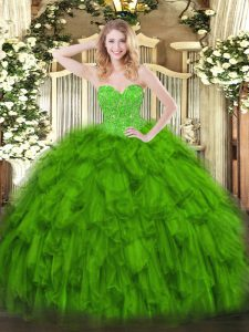 Sophisticated Green Sweetheart Neckline Beading and Ruffles Vestidos de Quinceanera Sleeveless Lace Up