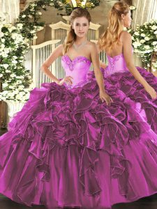 Fantastic Sleeveless Organza Floor Length Lace Up Vestidos de Quinceanera in Fuchsia with Beading and Ruffles