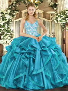 Romantic Sleeveless Beading and Appliques and Ruffles Lace Up Sweet 16 Dress